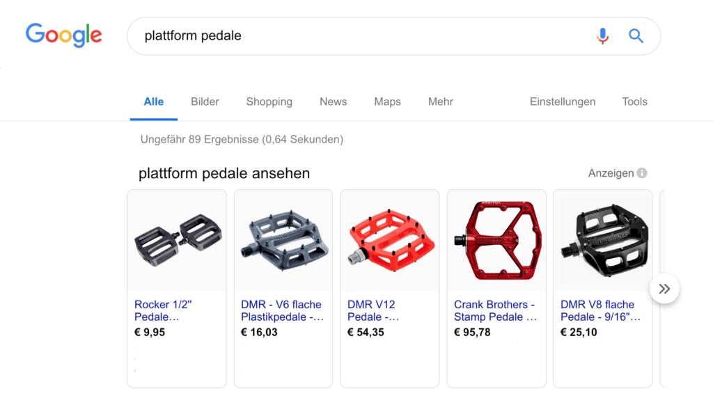 Screenshot Google Suchergebnisse Plattform Pedale