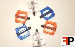 transparente fahrrad pedale orange blau weiss xlc m wave